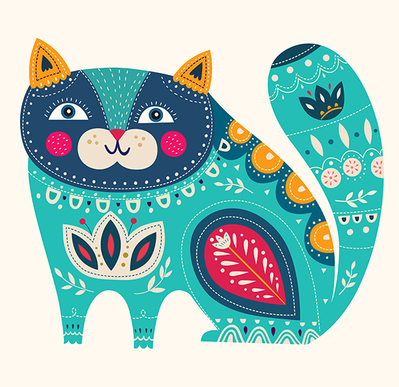 Illustration with cat and flowers example image 4