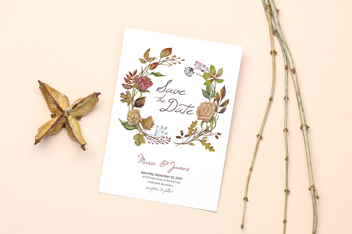 Invitation Card Mockups With Branches example image 10
