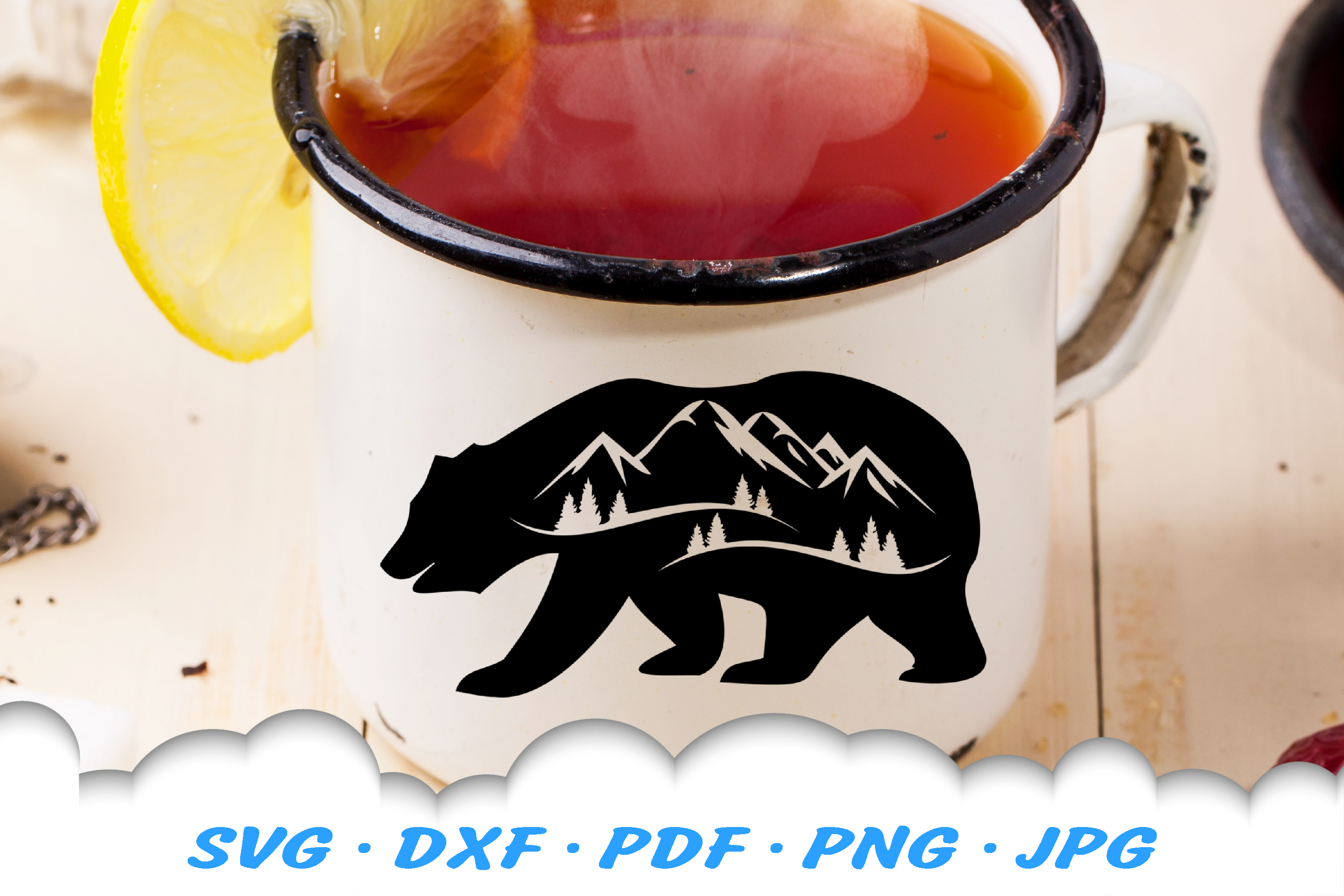 Bear Mountains Silhouette SVG DXF Cut Files example image 2