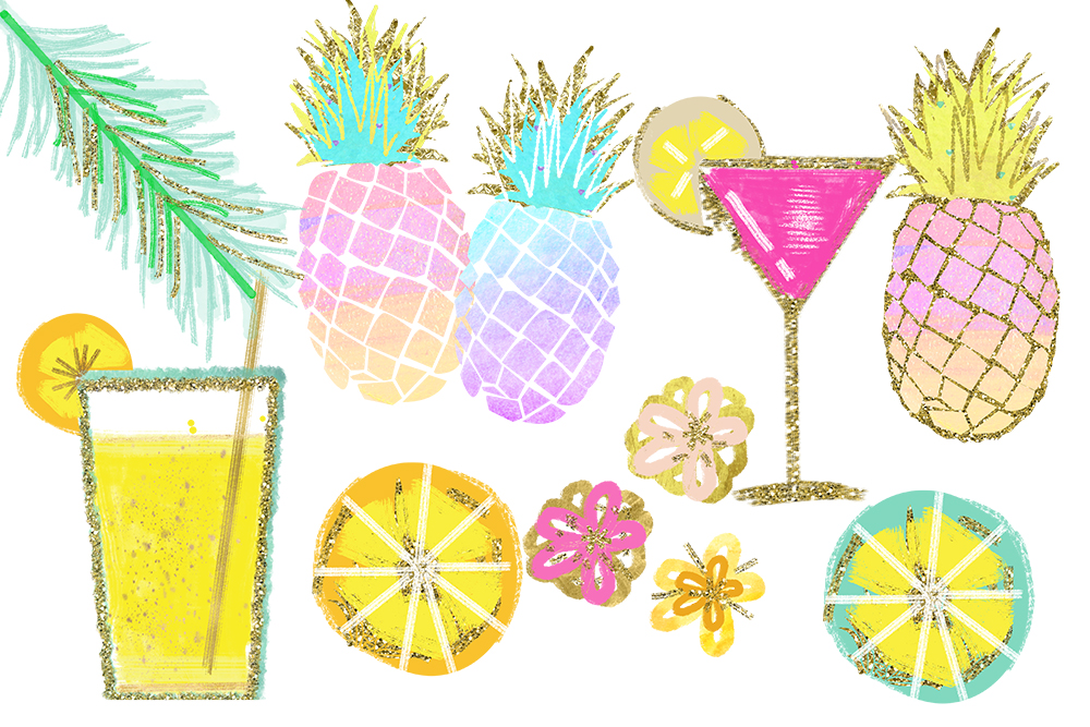 Tropical Clip Art, Watercolor Summer Clipart, Pineapple Summer Clipart, Beach Clipart, Lemon Clipart, Pineapple Clipart, signature drink example image 3