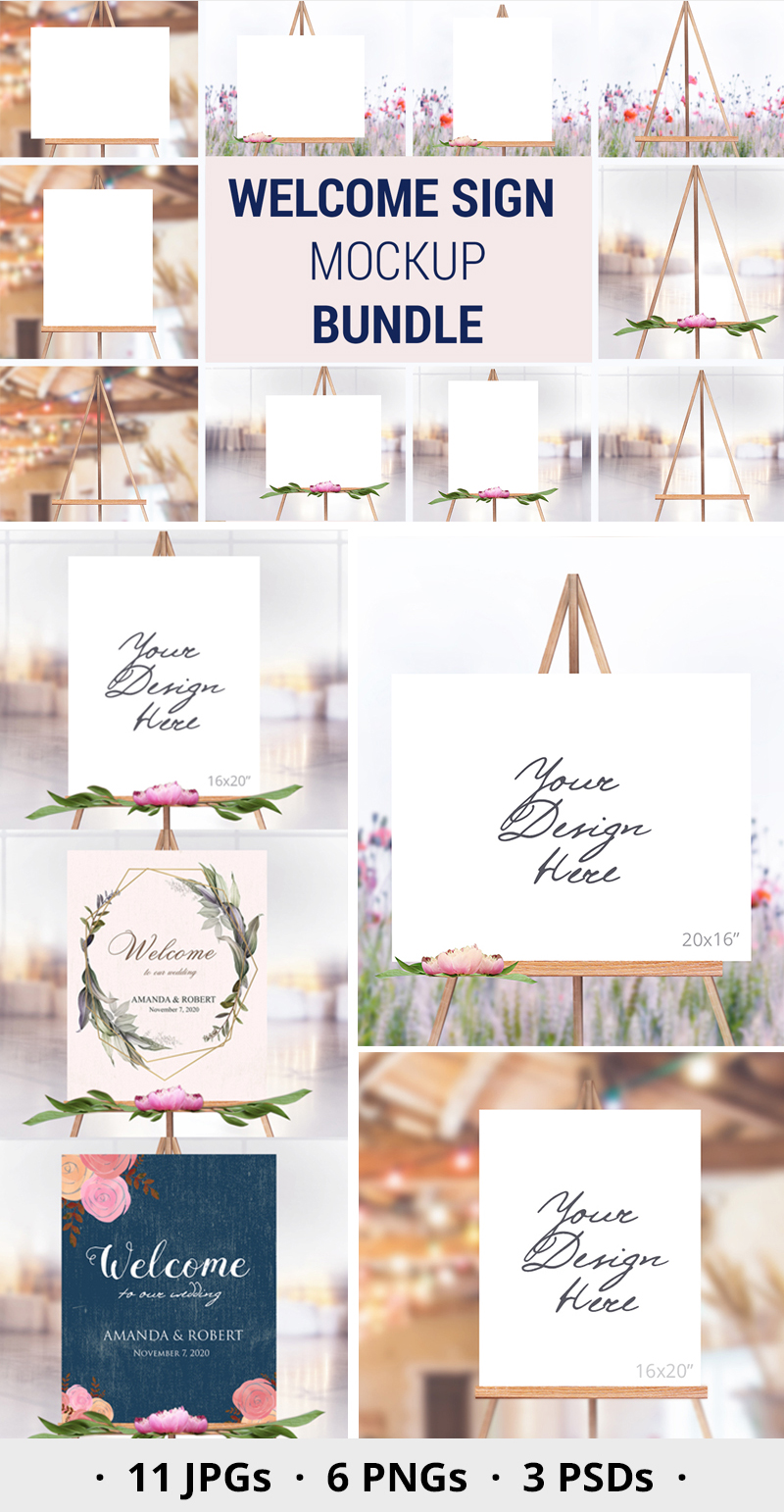 Easel Mockup BUNDLE, Welcome sign, Wedding Sign Mockup, 996 example image 4