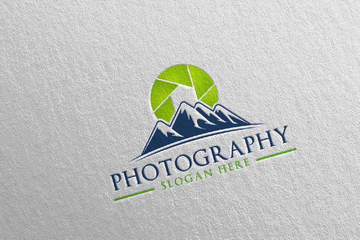 Abstract Mountain Camera Photography Logo 12 example image 3