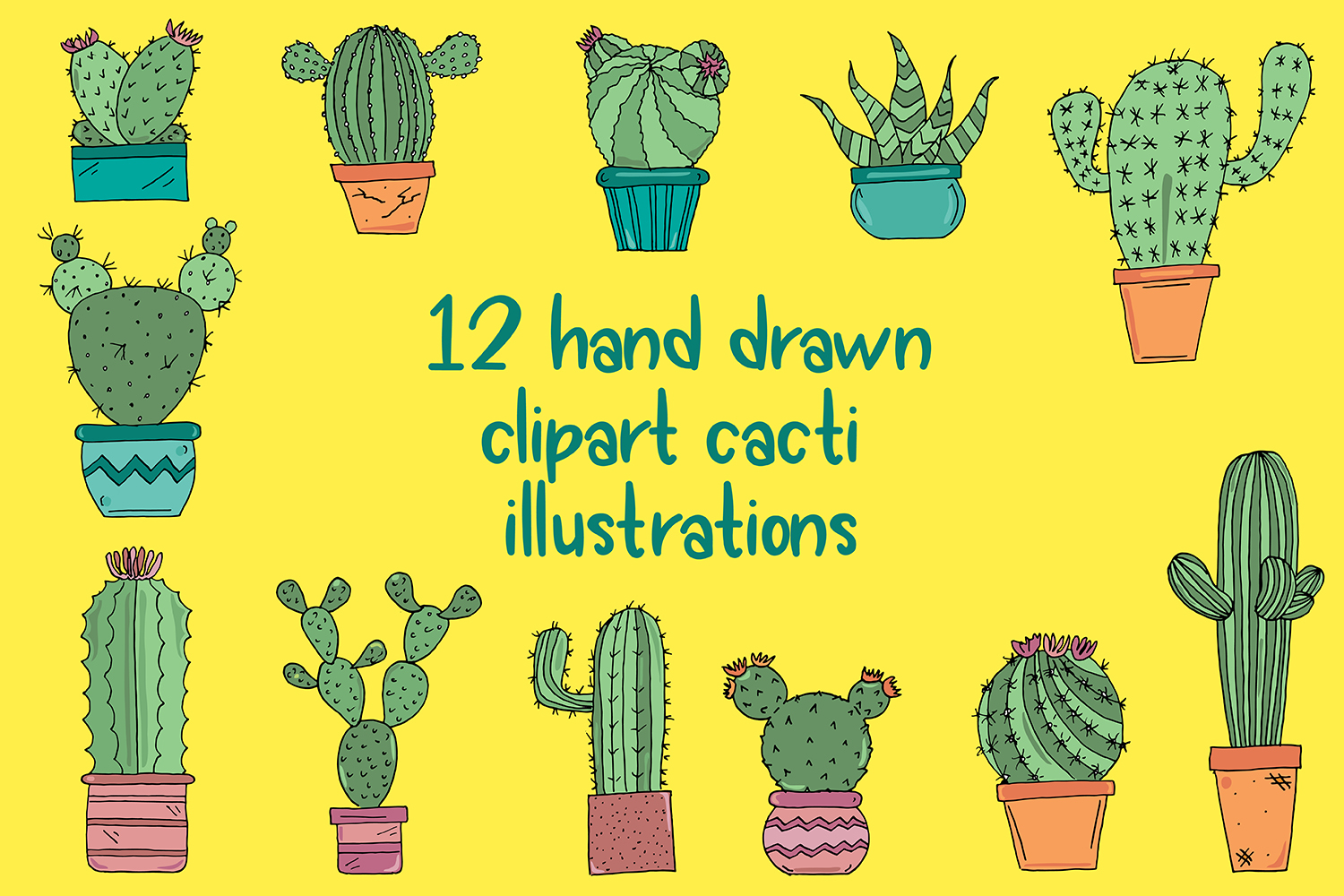 Hand Drawn Cactus Clipart Illustrations Pack PNG JPEG EPS example image 2