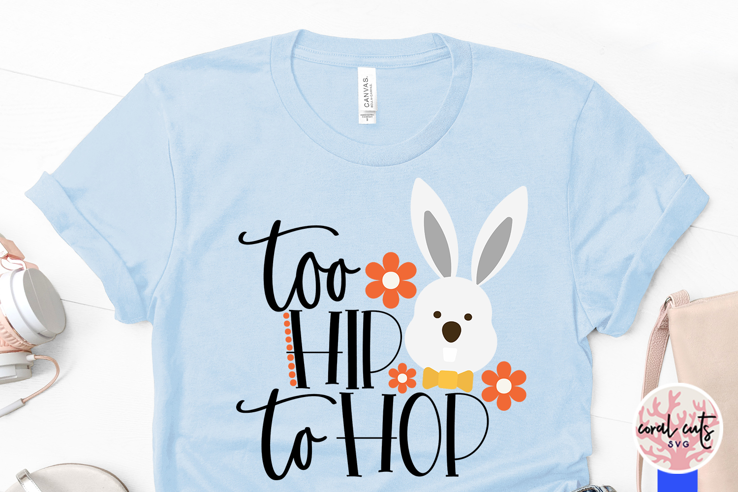 Too hip to hop - Easter SVG EPS DXF PNG Cutting File example image 3