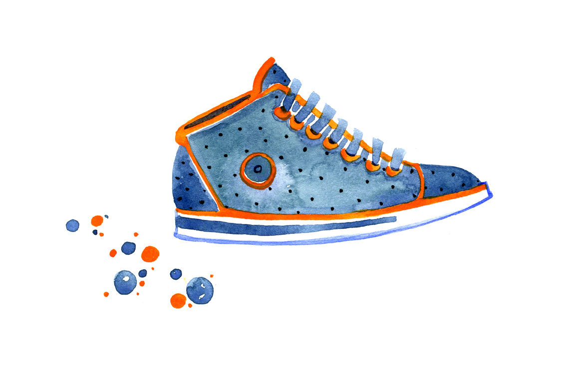 Watercolor multicolored sneakers example image 2