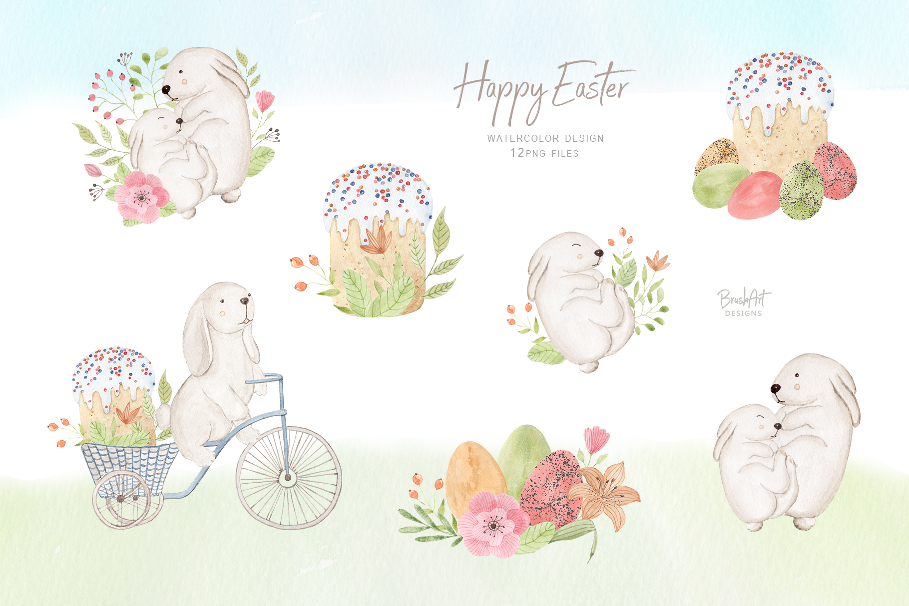 Happy Easter. Watercolor clipart. example image 4