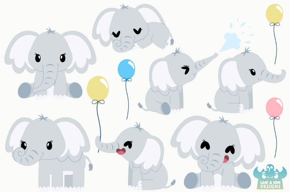 Cute Elephants Clipart, Instant Download Vector Art example image 2
