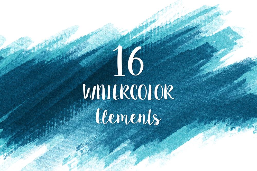 16 Blue Watercolor Design Elements example image 1