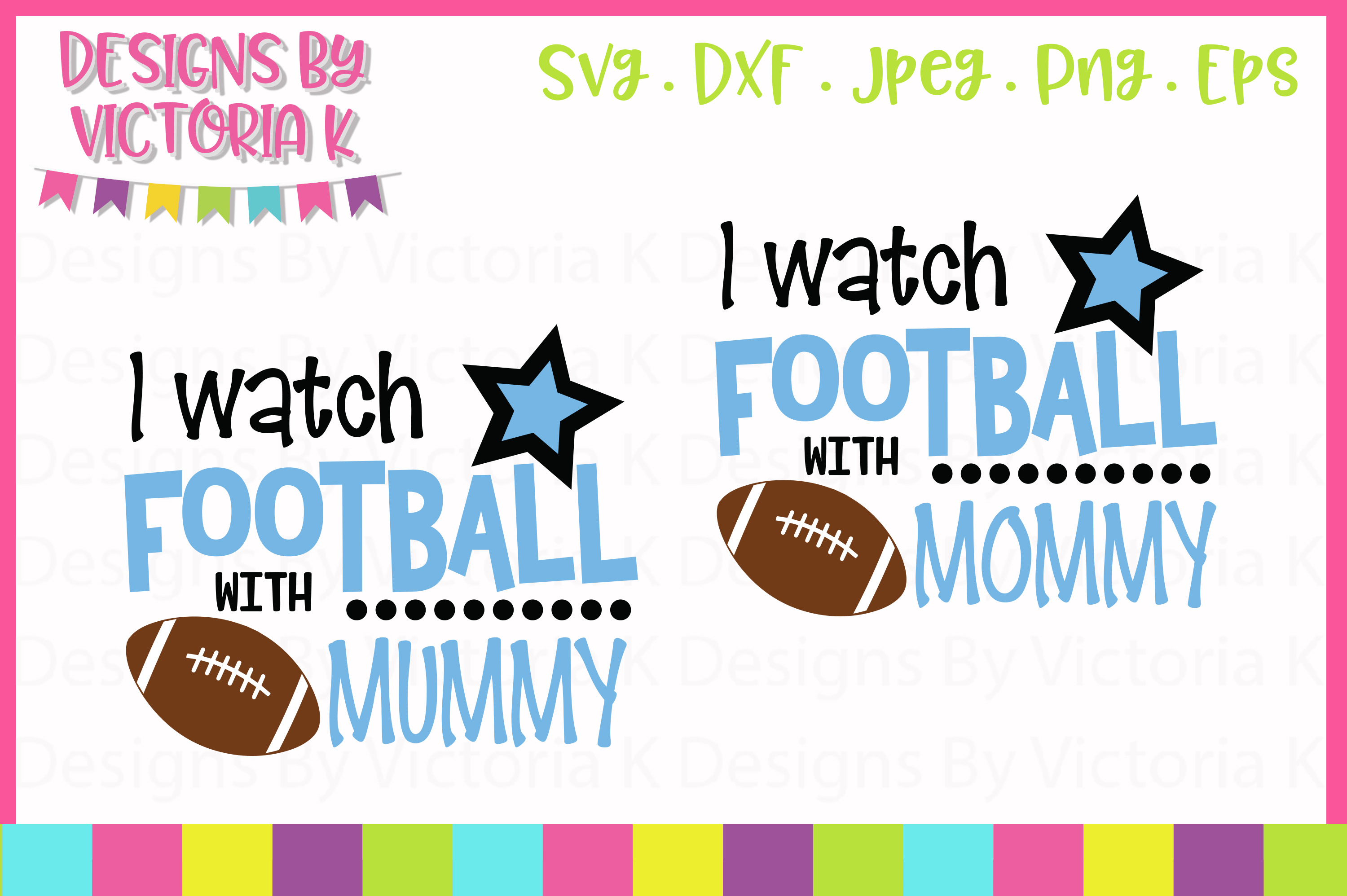 I watch football with Daddy, Mommy, SVG, DXF, PNG example image 4