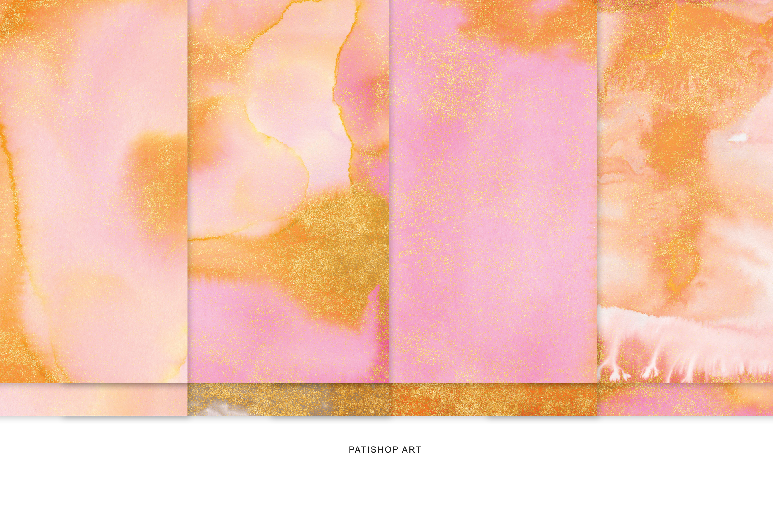 Watercolor Glittered Orange & Pink Background 5x7 example image 4