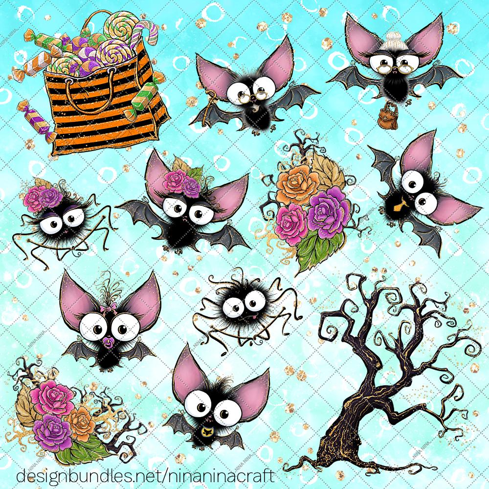 Cute Halloween Clipart, Bats Clip Art PNG Pack example image 4