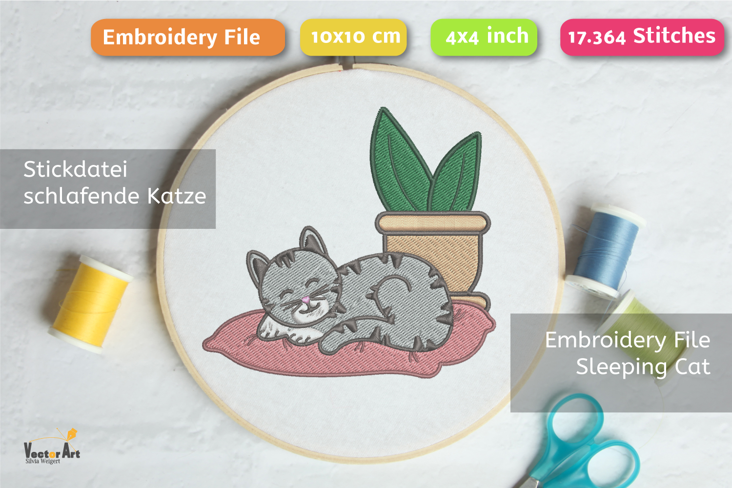 Sleeping Cat with Succulent - Embroidery File - 4x4 inch example image 2