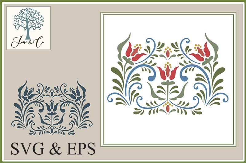 Scandinavian Folk Art Flowers, Rosemaling 4 example image 1