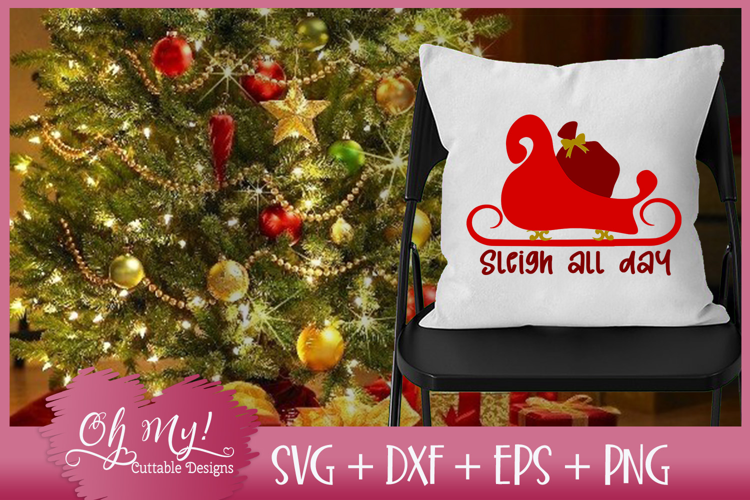 Sleigh All Day - SVG DXF EPS PNG Cutting File example image 4