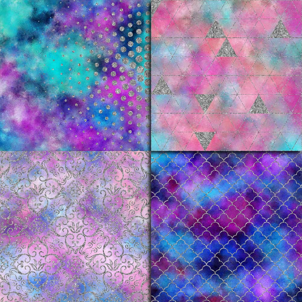 Galaxy & Silver Glitter Digital Paper example image 2