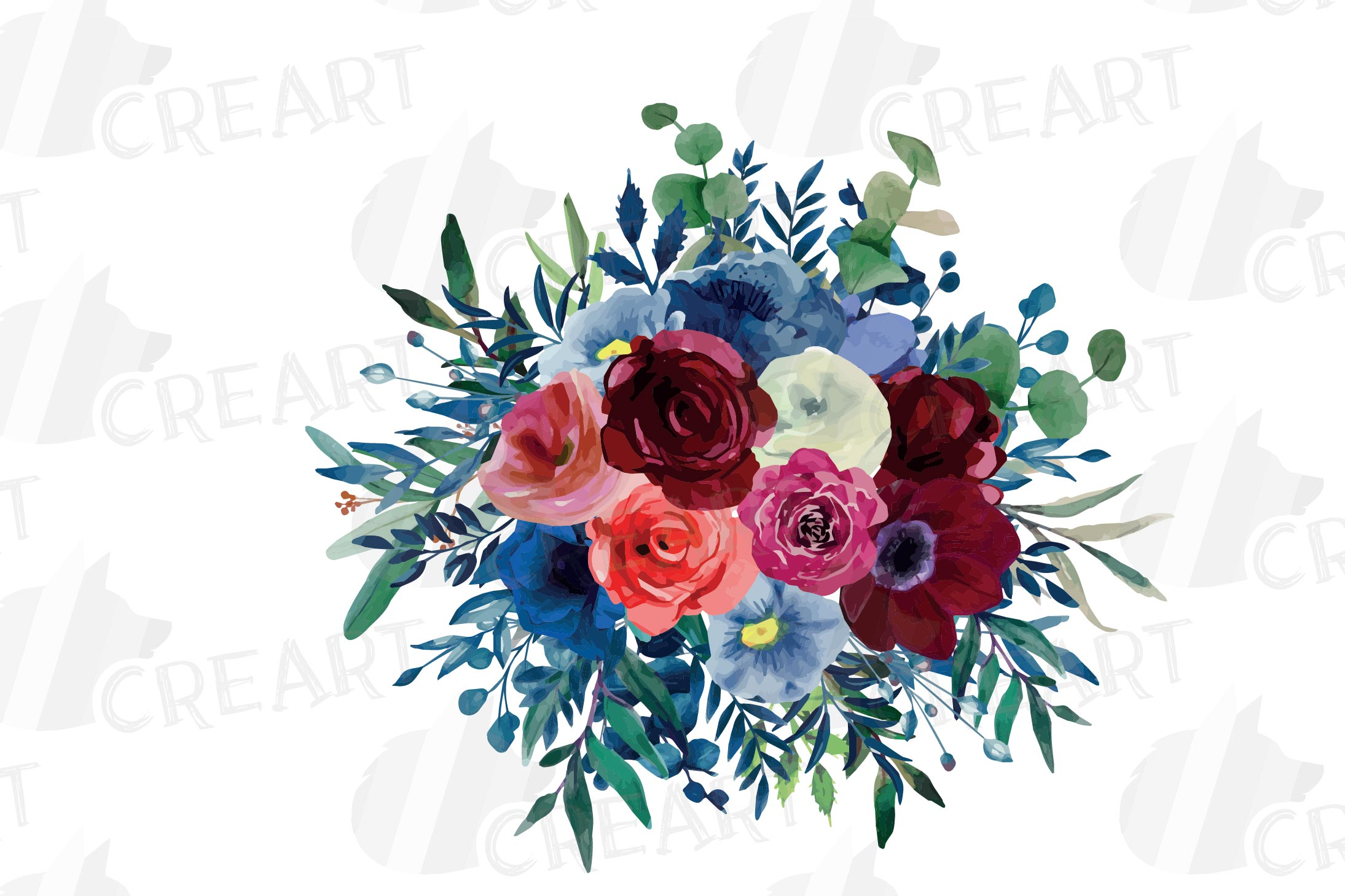 Colorful navy and burgundy floral watercolor wedding bouquet example image 11