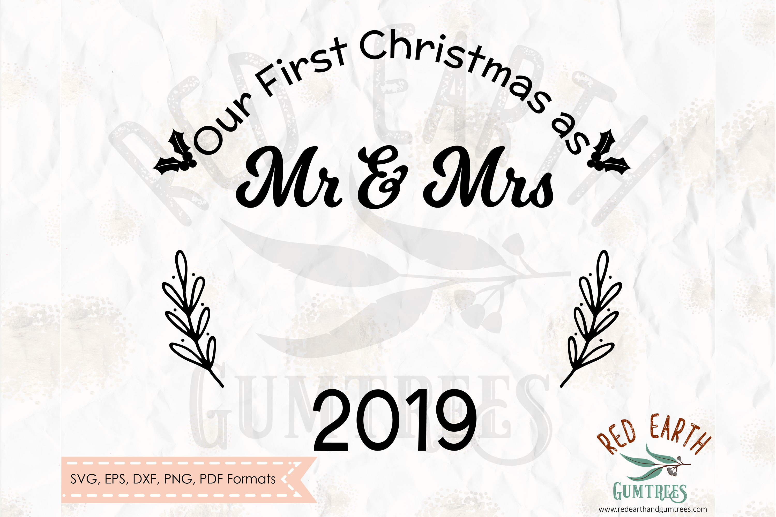 Our First Christmas as mr and Mrs, Newlyweds SVG,DXF,PNG,EPS example image 2