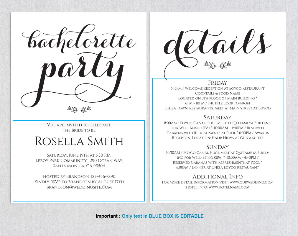 Bachelorette Party Invitations, TOS_50 example image 2