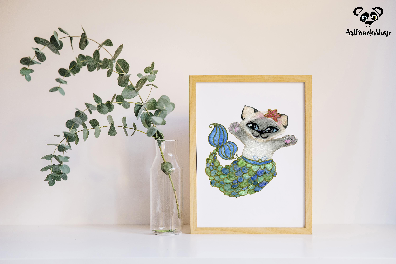 Cat fish cute mermaid watercolor cat print nursery printable example image 4