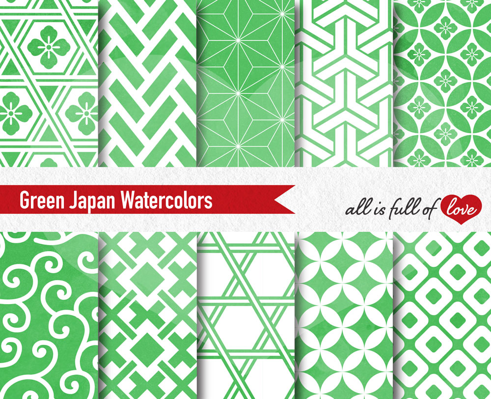 Greenery Digital Paper Japanese Background Patterns in Green example image 2
