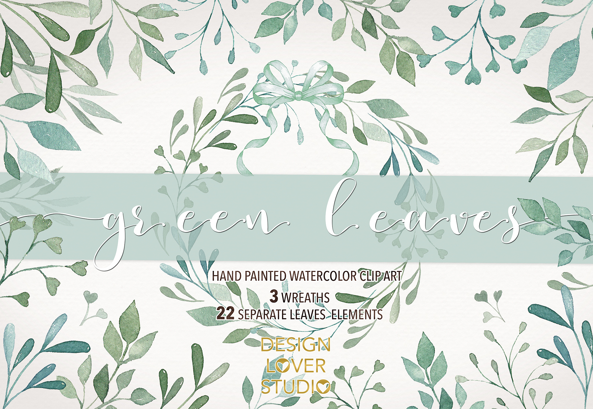 Watercolor green leaves clip arts example image 1
