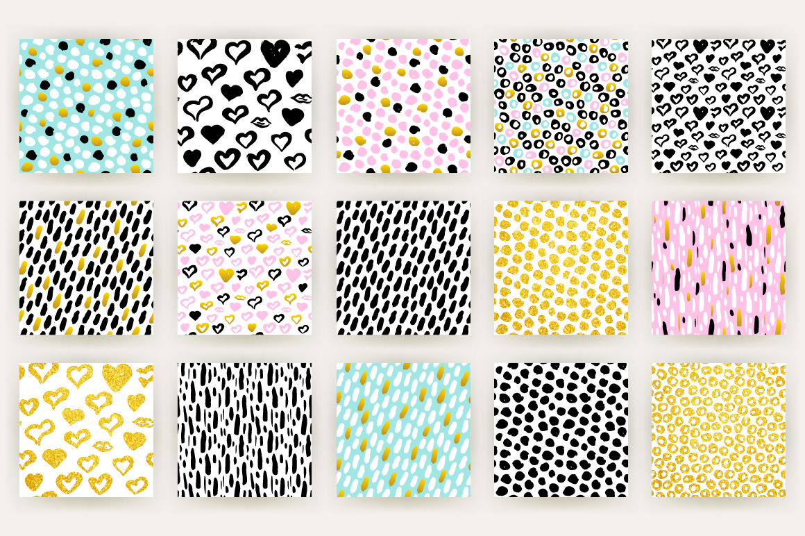 Brush Strokes Trendy Seamless Patterns example image 4