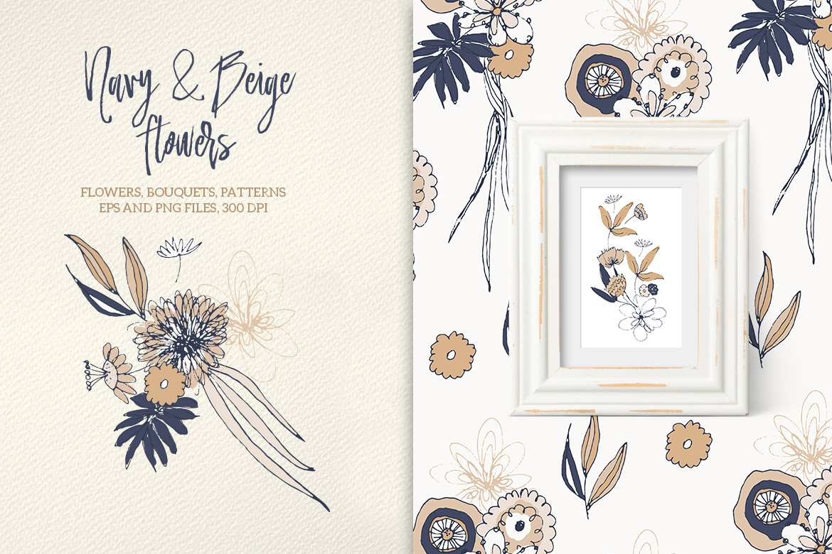 Navy and Beige Flowers example image 2