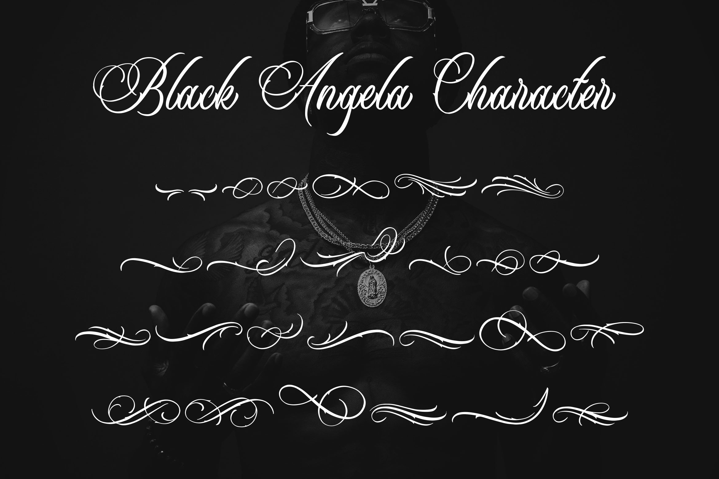 Black Angela - Tattoo Font example image 7