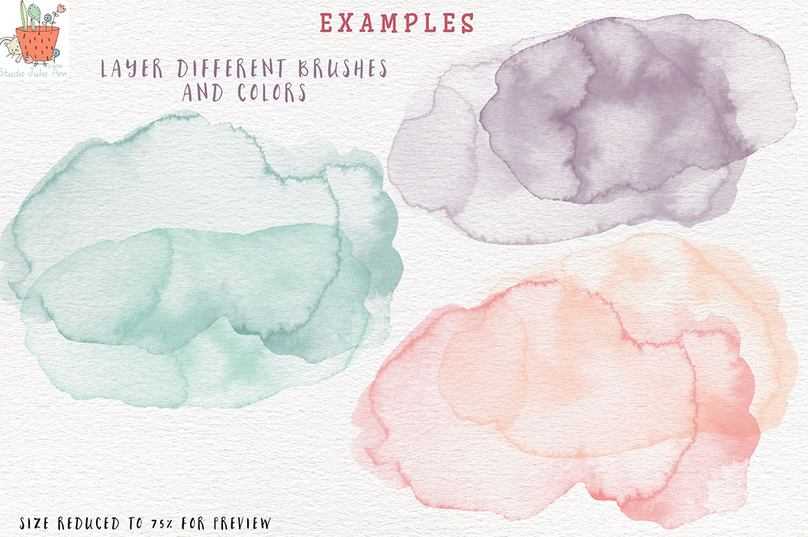 Watercolor Splotches Shapes Brushes Vol 3 example image 4