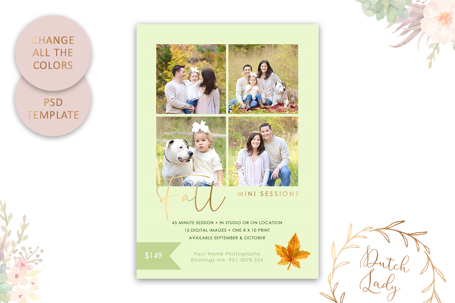 PSD Fall Photo Session Card Template - Design #47 example image 4
