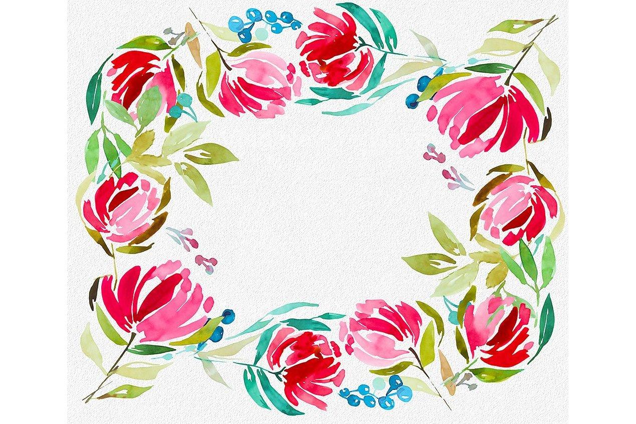 3 Watercolor Digital Frames example image 3