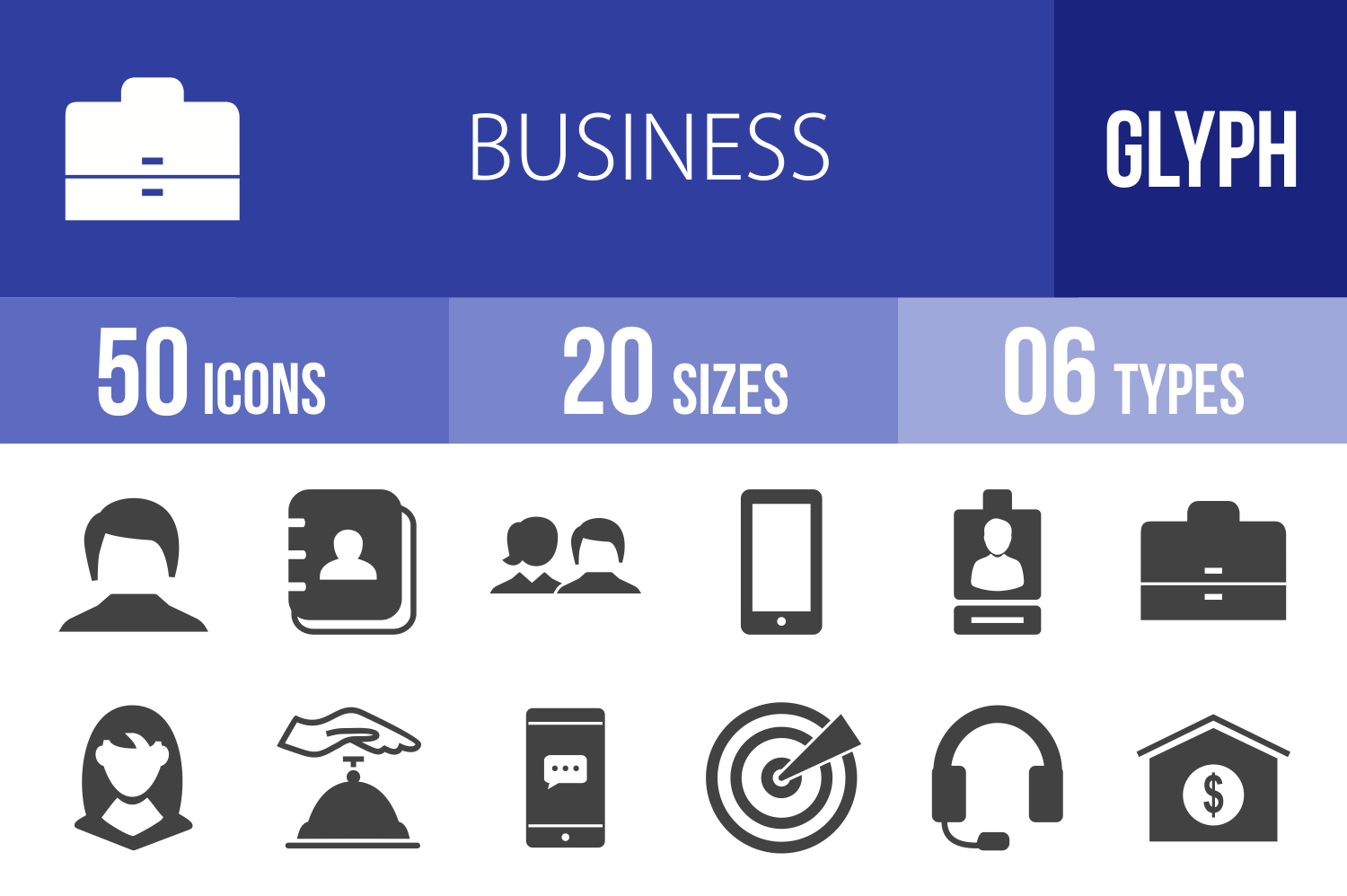 50 Business Administration Glyph Icons example image 1
