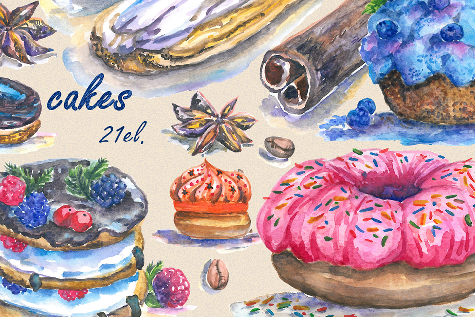 Cake Clipart, cupcake clipart, donut clipart, Handpainted example image 2