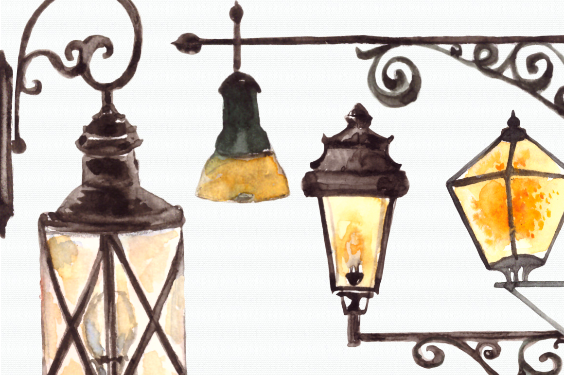 Watercolor Lanterns Clip Art Set example image 4