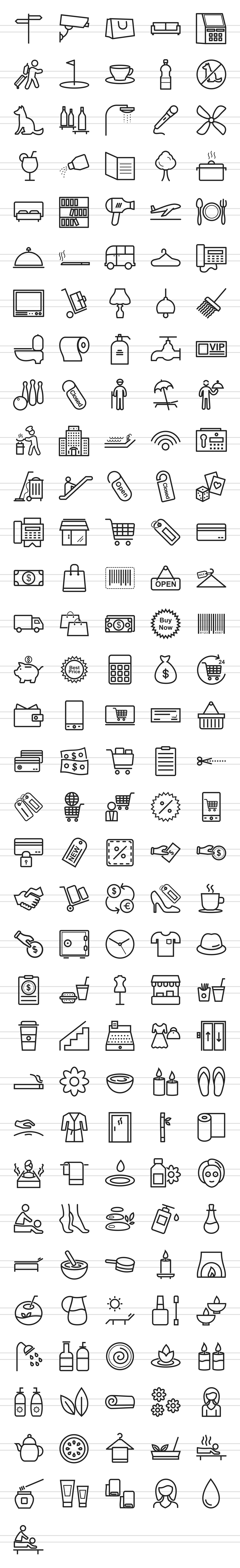 166 Hotel & Relaxation Line Icons example image 2