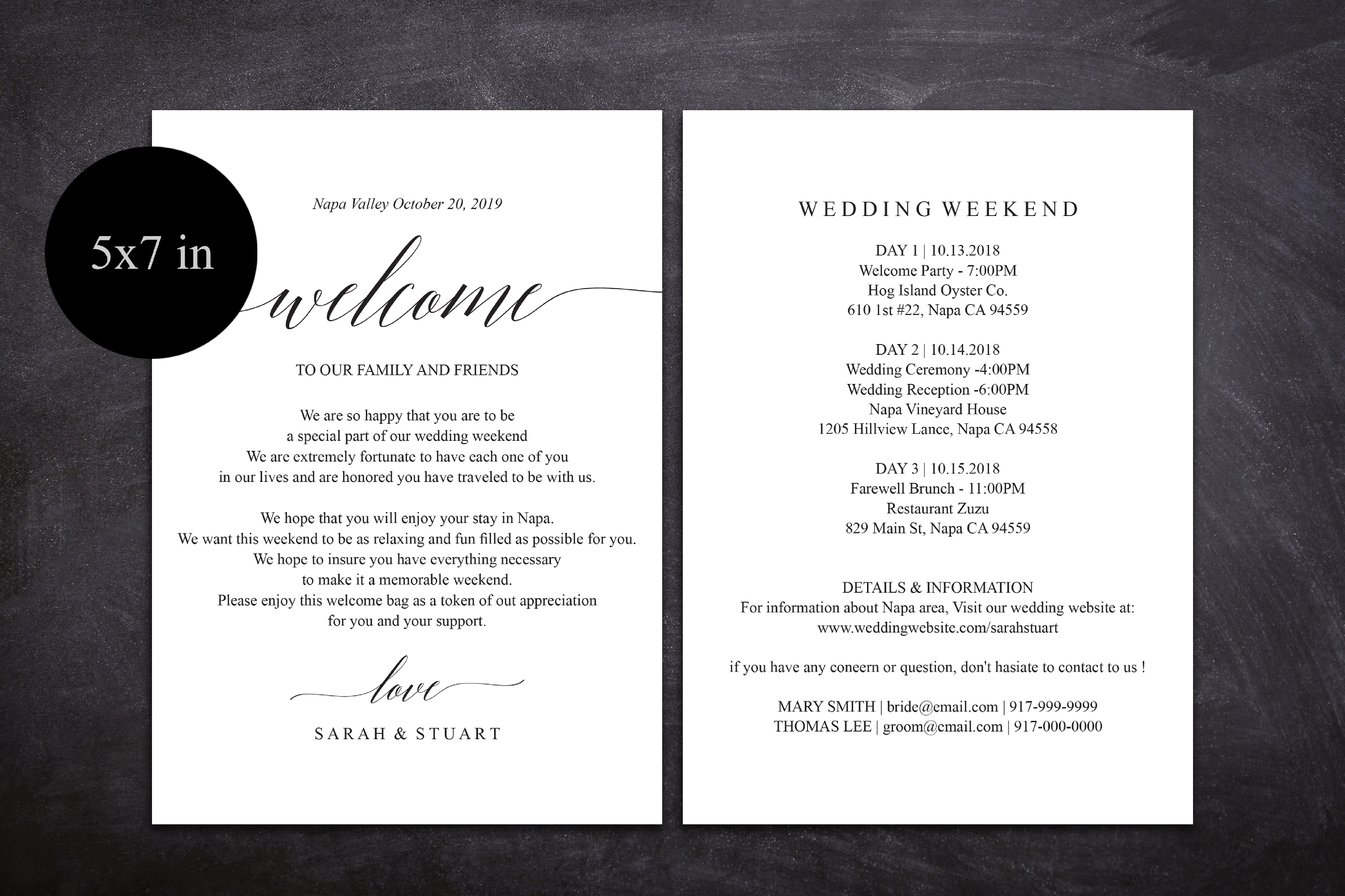 Wedding Itinerary Card, Welcome Note, Printable Wedding example image 2