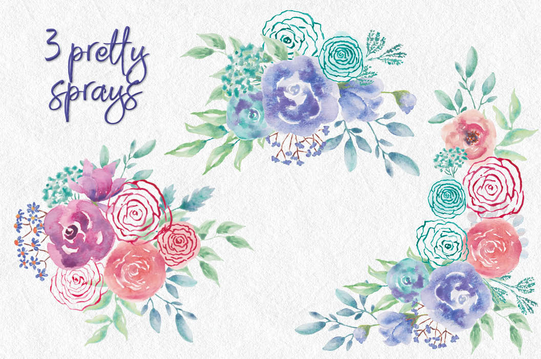 Watercolor wreath of 'mod' roses example image 4