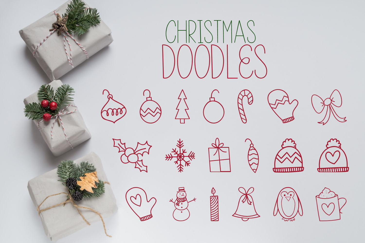Tinsel Tangled, A Christmas Font With Fun Doodles example image 4