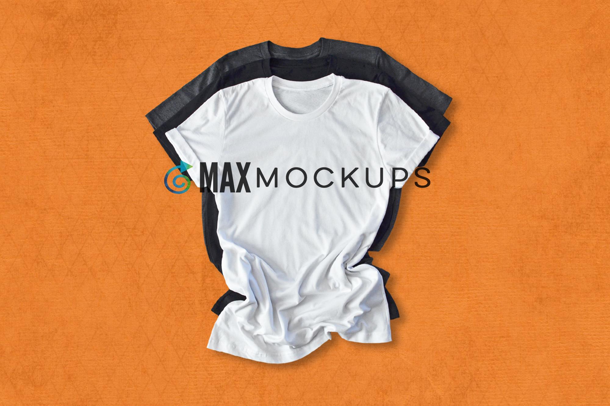 White shirt mock up, Halloween orange, women men stock photo example image 1