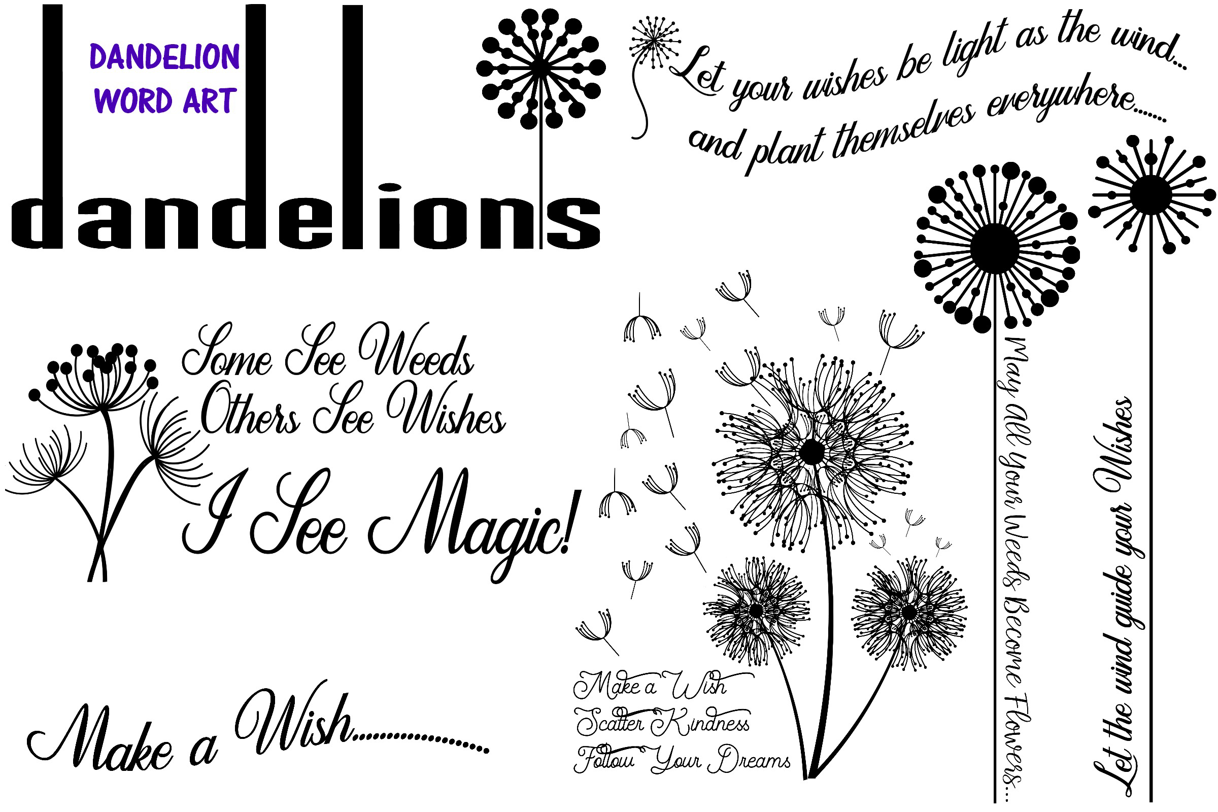 Dandelions and Overlays and Word Art AI EPS PNG example image 4