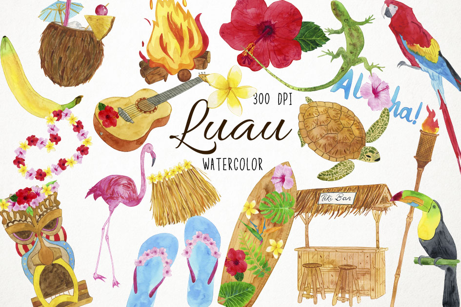 Watercolor Luau Clipart, Luau Clip Art, Hawaiian Clipart