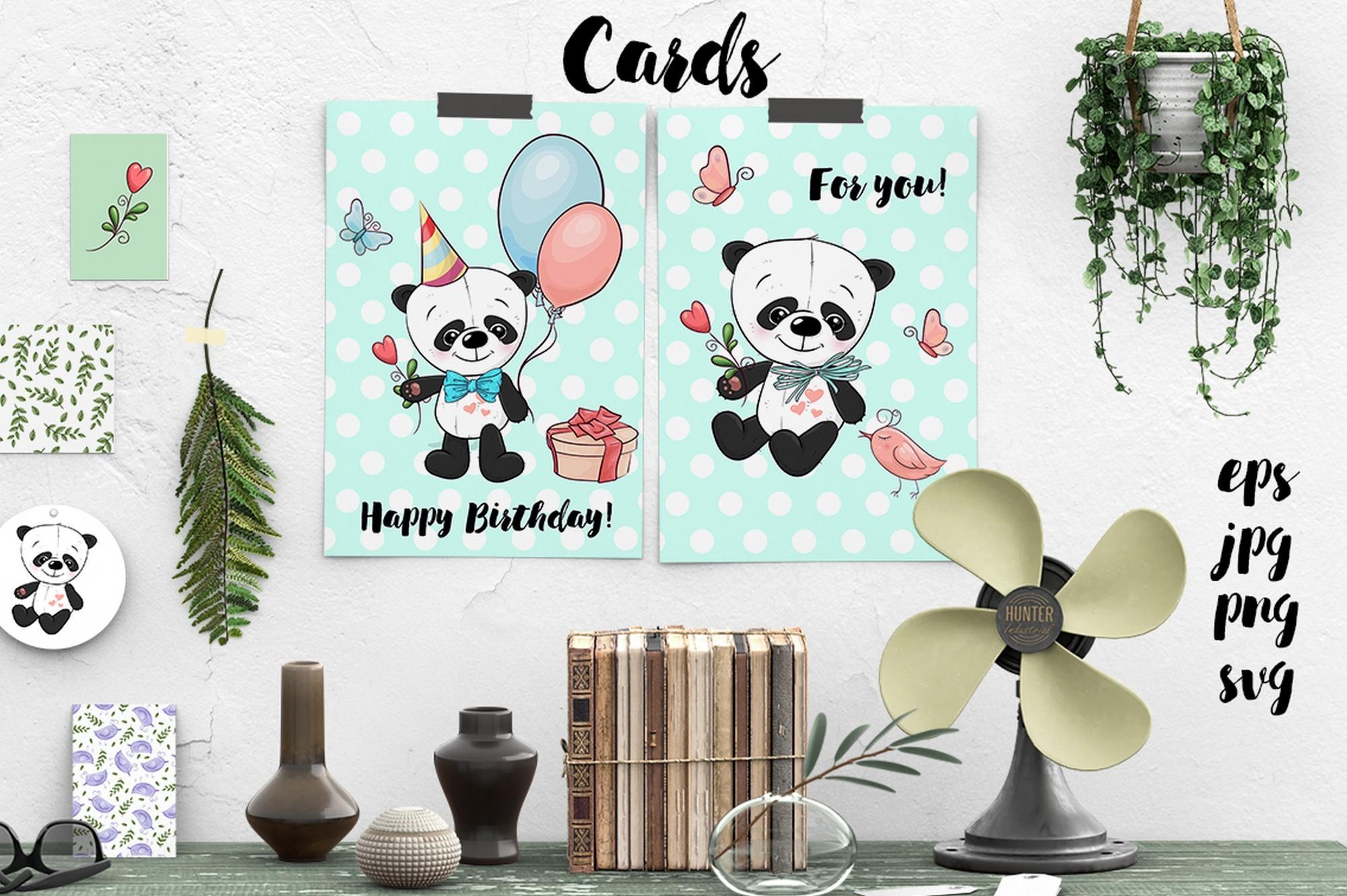 Cute Panda - vector clip art example image 2