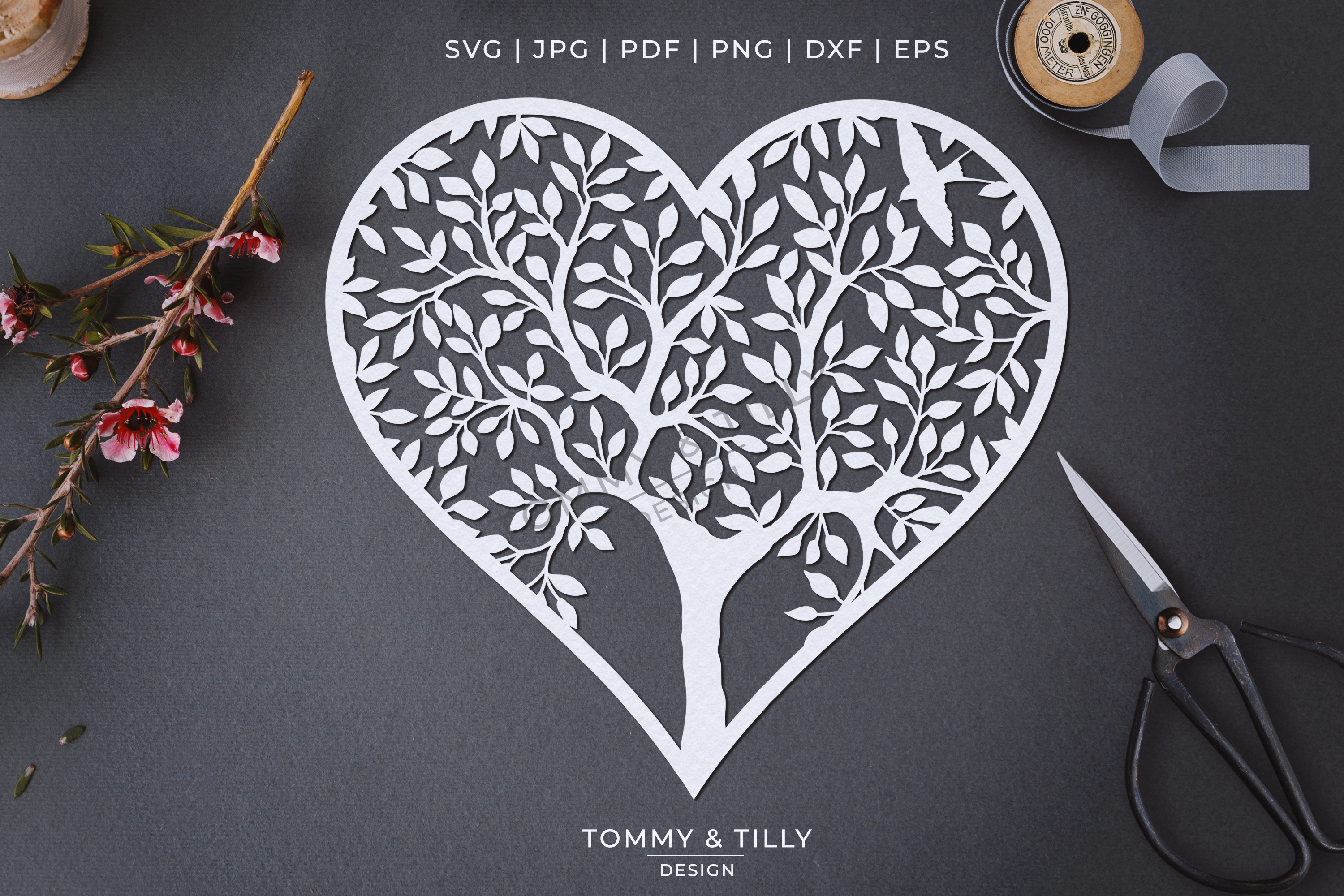Heart Tree - Papercut Template SVG EPS DXF PNG PDF JPG example image 1