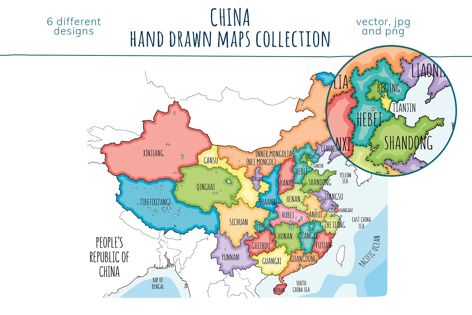 Maps of China. Hand drawn collection example image 2