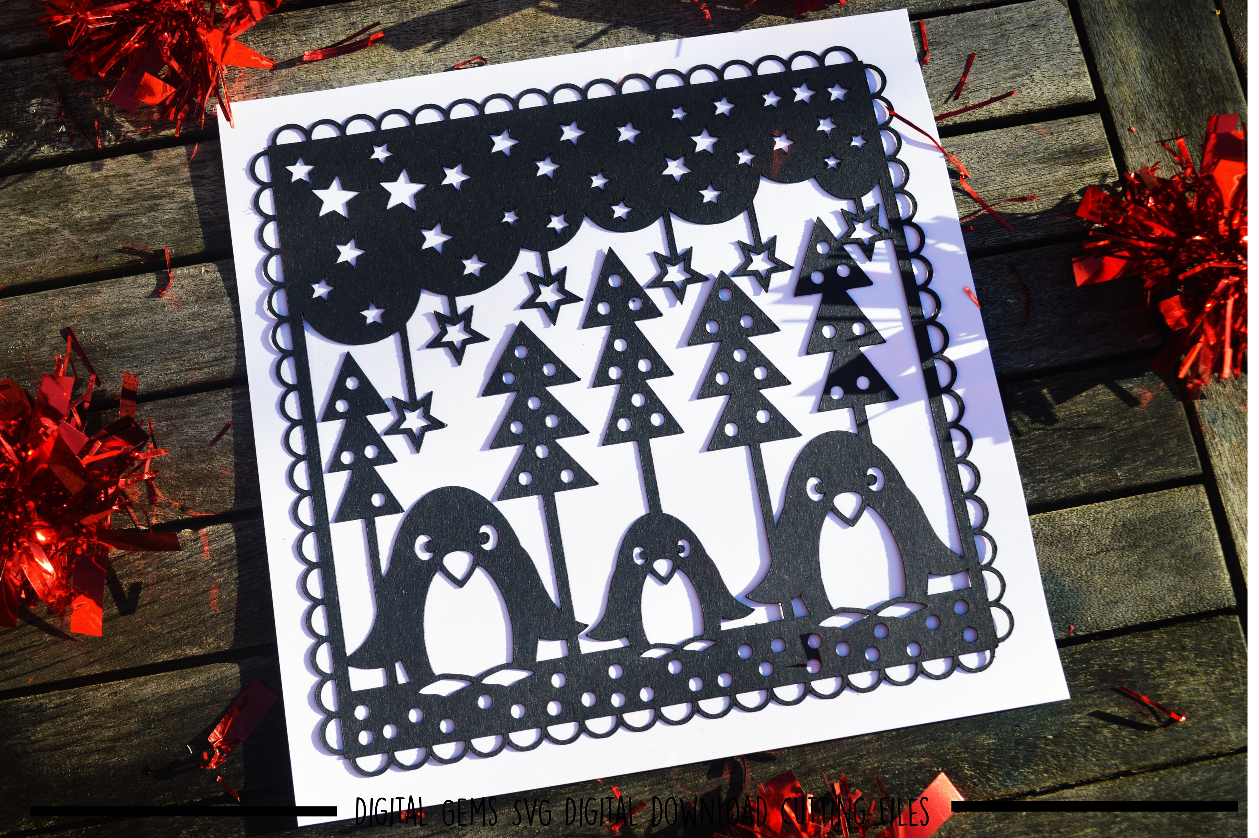 Penguin paper cut SVG / DXF / EPS files example image 2