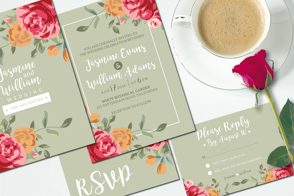 Floral Wedding Invitation + RSVP example image 2