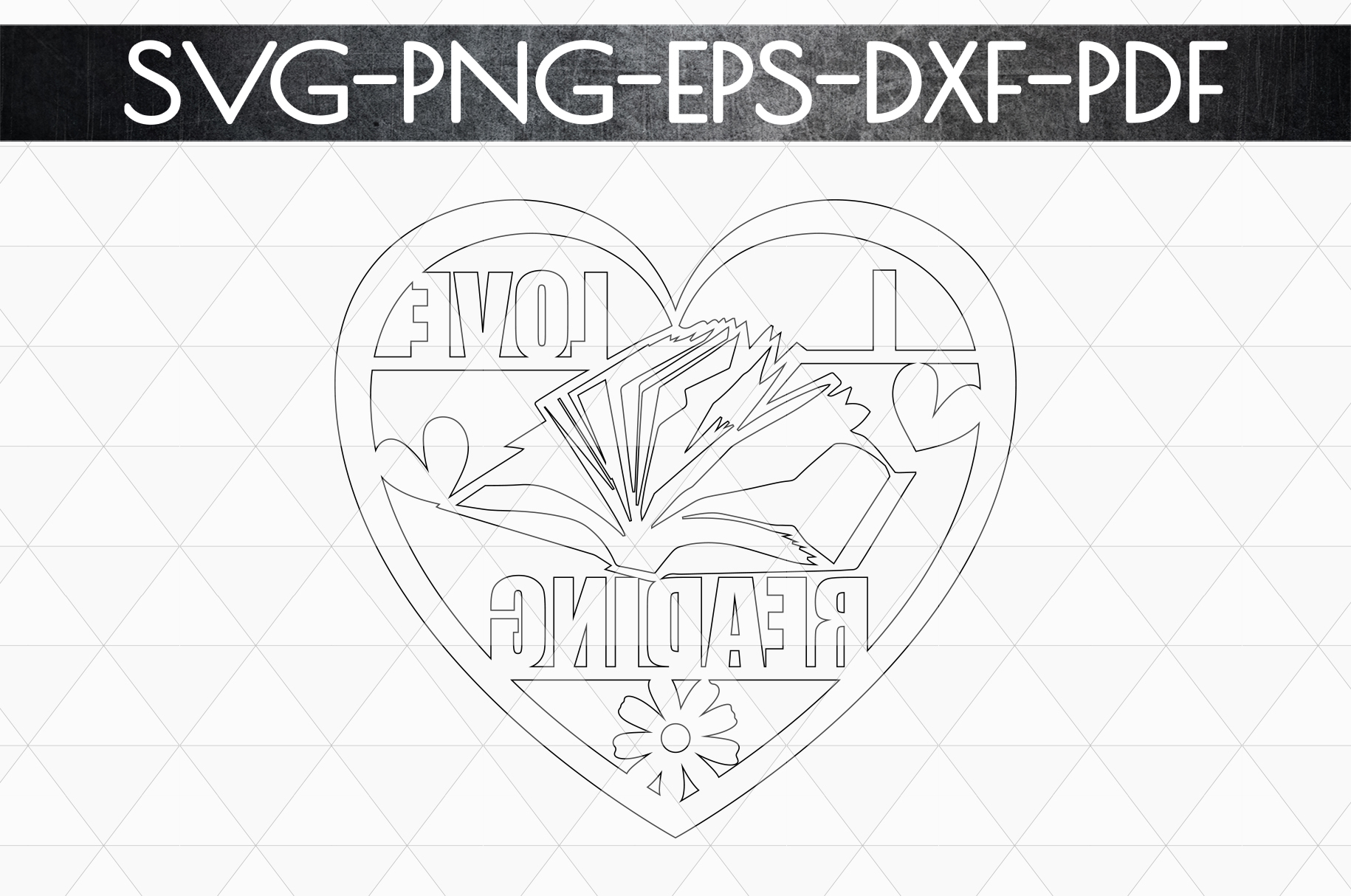 I Love Reading Papercut Template, Bookworm Cut Files, SVG example image 5