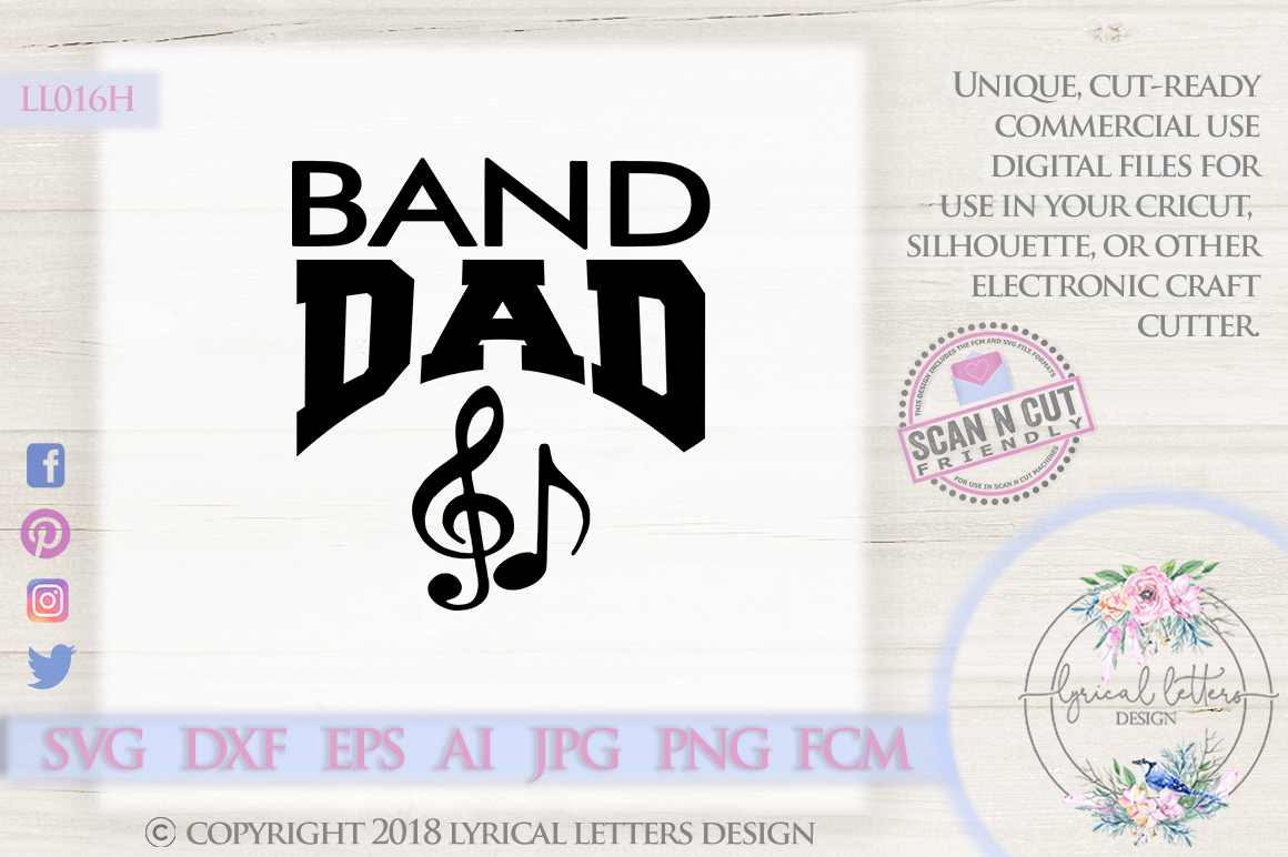 Band Dad Car Decal SVG DXF Cut File LL016H example image 1