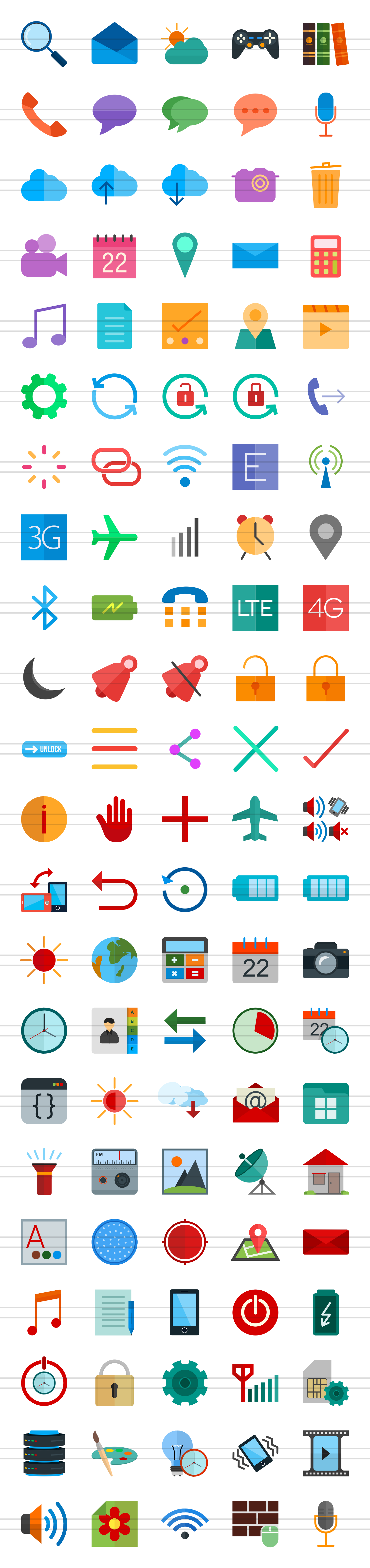 110 Mobile Interface Flat Icons example image 2