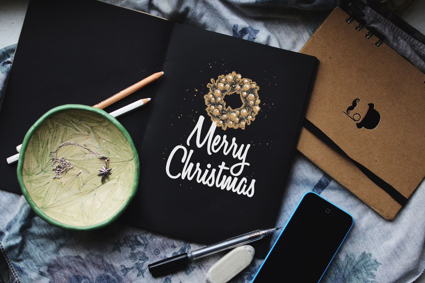 Christmas elements and lettering example image 4